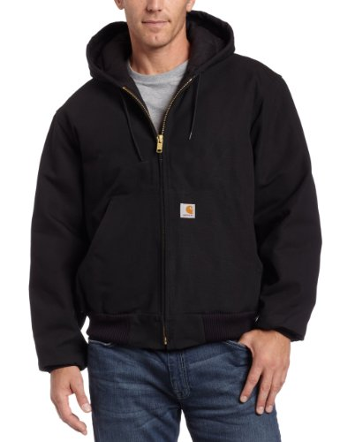 0035481216152 - CARHARTT MEN'S QUILTED FLANNEL LINED DUCK ACTIVE JACKET J140,BLACK,LARGE