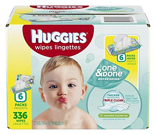 0036000431964 - HUGGIES ONE AND DONE BABY WIPES - UNSCENTED - 336 CT