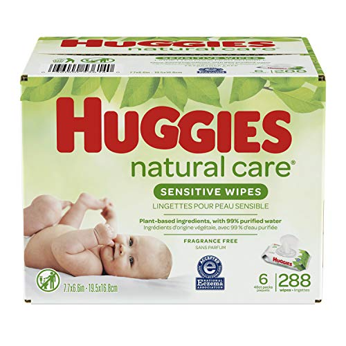 0036000536140 - BABY WIPES, HUGGIES NATURAL CARE SENSITIVE BABY DIAPER WIPES, UNSCENTED, HYPOALLERGENIC, 6 FLIP-TOP PACKS (288 WIPES TOTAL)
