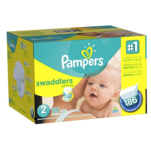 0037000858065 - PAMPERS SWADDLERS, SIZE 2 (12-18 LBS.), 186 CT.