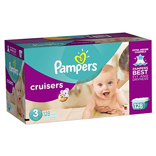 0037000862789 - PAMPERS CRUISERS DIAPERS GIANT PACK, SIZE 3, 128 COUNT
