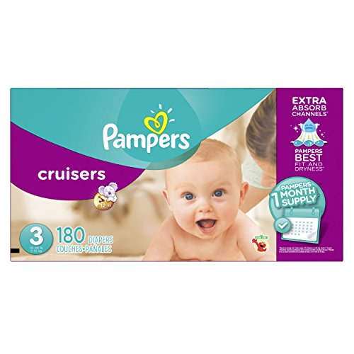0037000933939 - PAMPERS CRUISERS DIAPERS, SIZE 3, ONE MONTH SUPPLY, 180 COUNT