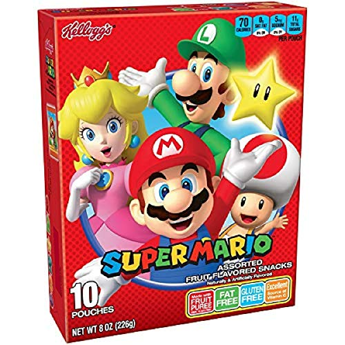 0038000167898 - KELLOGG'S SUPER MARIO ASSORTED FRUIT FLAVORED SNACKS, 10 COUNT, PACK OF 8