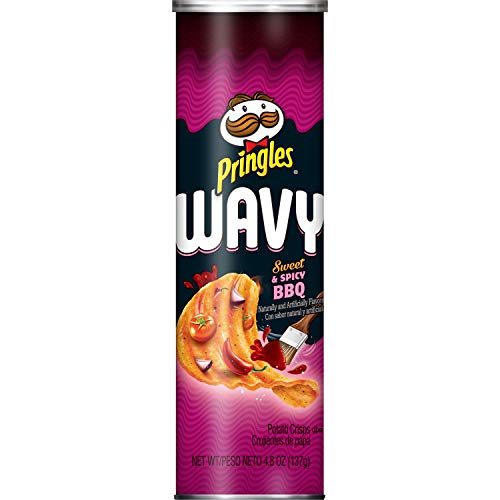 0038000197840 - PRINGLES WAVY, POTATO CRISPS CHIPS, SWEET AND SPICY BBQ, 4.8OZ CAN