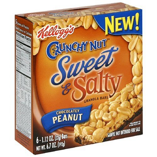 0038000295782 - KELLOGG'S CRUNCHY NUT SWEET & SALTY, CHOCOLATEY PEANUT GRANOLA BARS, 6.7-OUNCE, 6-COUNT BOXES (PACK OF 12)