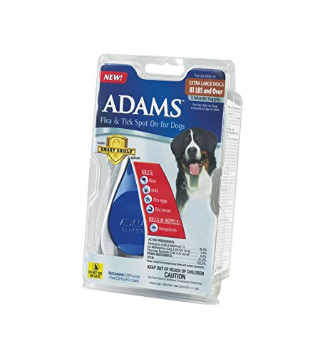 0039079091374 - ADAMS FLEA AND TICK SPOT ON FOR DOGS SIZE 3 MONTH COLOR OVER 81 POUNDS 81 LB, 1 MONTH
