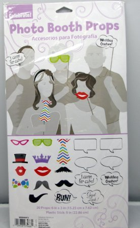 0039938074661 - 20 PHOTO BOOTH PROPS MOUSTACHES, EYE GLASSES, LIPS, HATS, TIE