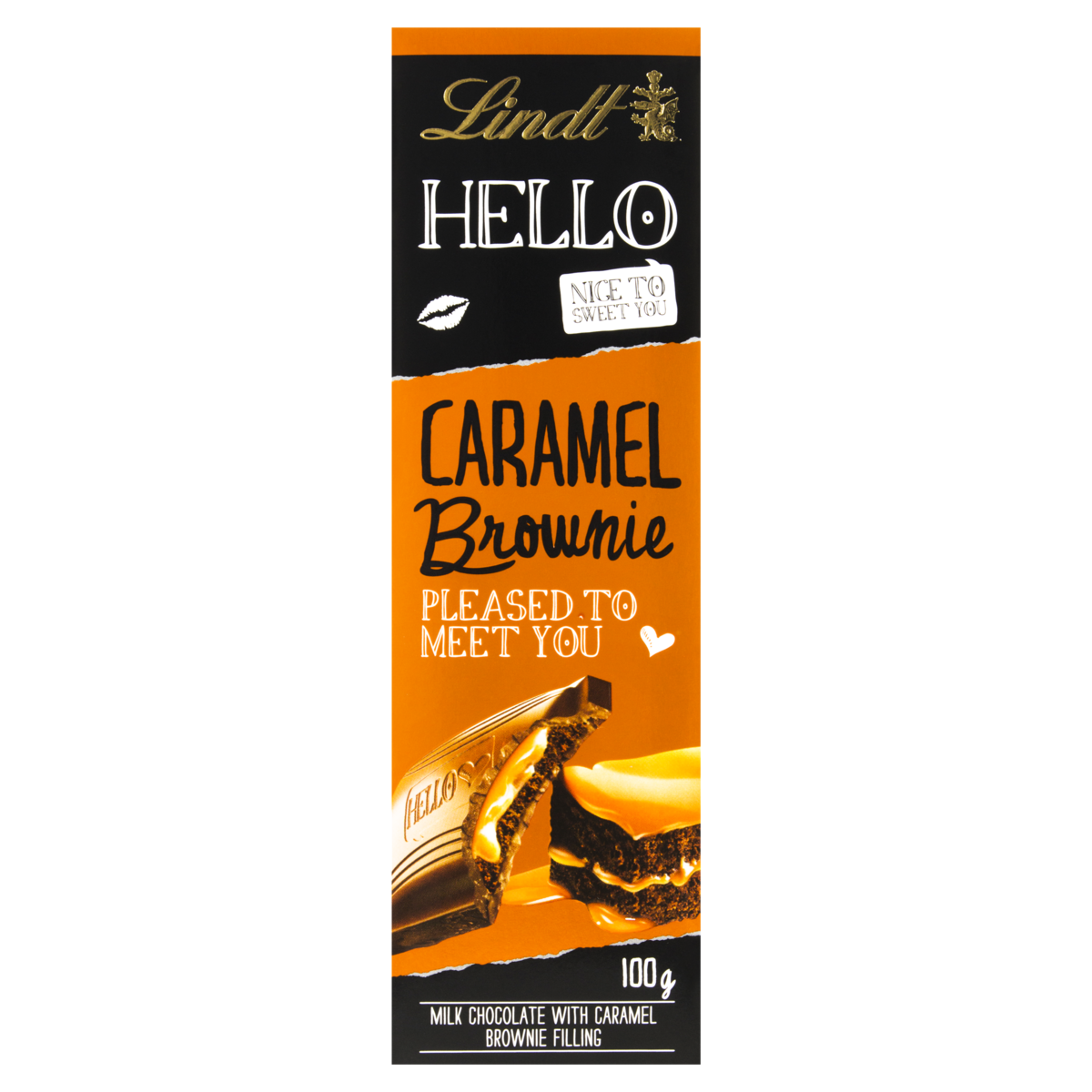 4000539222009 - BARRA DE CHOCOLATE HELLO CARAMEL AND BROWNIE LINDT