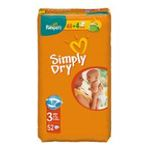 4015400425625 - PAMPERS SIMPLY DRY T3 X48 | SIMPLY DRY COUCHE JETABLE PANTY SAC 52CT 2CT 4-9 KG MIDI UNISEXE