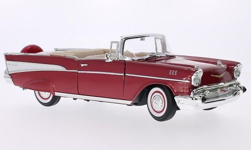 4052176637616 - CHEVROLET BEL AIR CONVERTIBLE, METALLIC-RED/WHITE, 1957, MODEL CAR, READY-MADE, LUCKY THE CAST 1:18