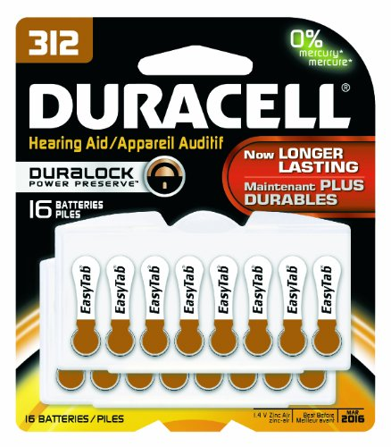 0041333002811 - DURACELL DA312B16ZM09 EASY TAB HEARING AID ZINC AIR BATTERY, 312 SIZE, 1.4V, 175 MAH CAPACITY (PACK OF 16)
