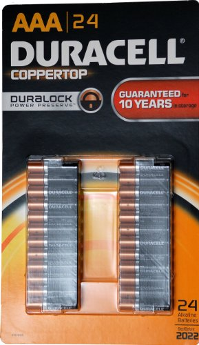 0041333897486 - DURACELL COPPERTOP AAA BATTERIS, 24 PACK, MADE IN USA
