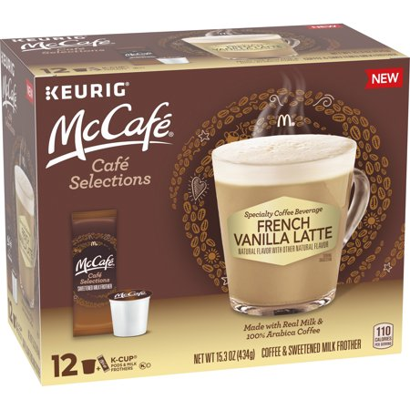 0043000086247 - MCCAFE CAFE SELECTIONS FRENCH VANILLA COFFEE KEURIG K CUP PODS & FROTH PACKETS, 12 CT BOX