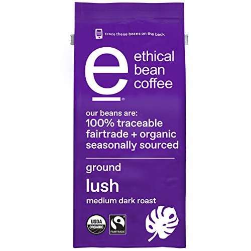 0043000088852 - ETHICAL BEAN FAIRTRADE ORGANIC COFFEE, LUSH MEDIUM DARK ROAST, GROUND COFFEE BEANS- 100% ARABICA COFFEE (8 OZ BAG)