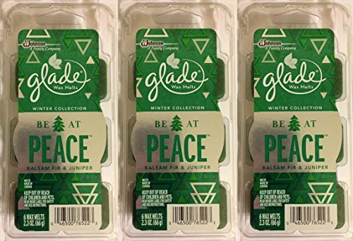 0046500765223 - GLADE WAX MELTS - WINTER COLLECTION 2015 - BE AT PEACE - BALSAM FIR & JUNIPER - 6 COUNT WAX MELTS PER PACKAGE - PACK OF 3