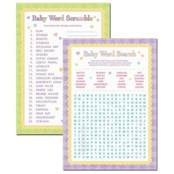0048419756347 - AMSCAN BABY SHOWER WORD SCRAMBLE AND BABY WORD SEARCH GAMES