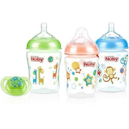0048526952953 - NUBY 3-PACK NATURAL TOUCH 9-OZ PRINTED BABY BOTTLES WITH COMFORT ORTHODONTIC PACIFIER, NEUTRAL, BPA-FREE