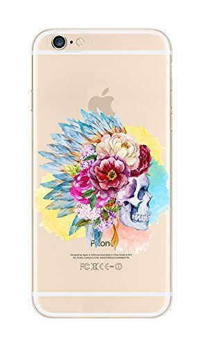 4895196138264 - IPHONE 6/ 6S, DECO FAIRY SKULL WEARING FLOWER CROWN NET ULTRA SLIM TRANSLUCENT SILICONE CLEAR CASE GEL COVER FOR APPLE
