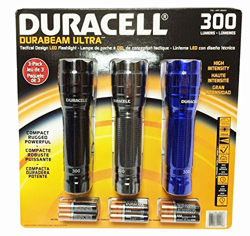 4897026911078 - DURACELL DURABEAM ULTRA 300 LUMENS TACTICAL HIGH-INTENSITY COMPACT LED FLASHLIGHT, 3-PACK