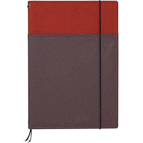 4901480240862 - KOKUYO SYSTEMIC REFILLABLE NOTEBOOK COVER - SEMI B5 (7 X 9.8) - NORMAL RULE - 30 LINES X 40 SHEETS - RED / GRAY