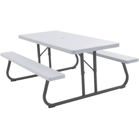 4913553156611 - LIFETIME 6' PICNIC TABLE, WHITE GRANITE SEATS UP TO 8 PEOPLE