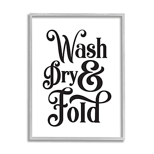 0049182366597 - STUPELL INDUSTRIES LAUNDRY WASH DRY & FOLD PHRASE MINIMAL, DESIGNED BY LETTERED AND LINED GRAY FRAMED WALL ART, WHITE