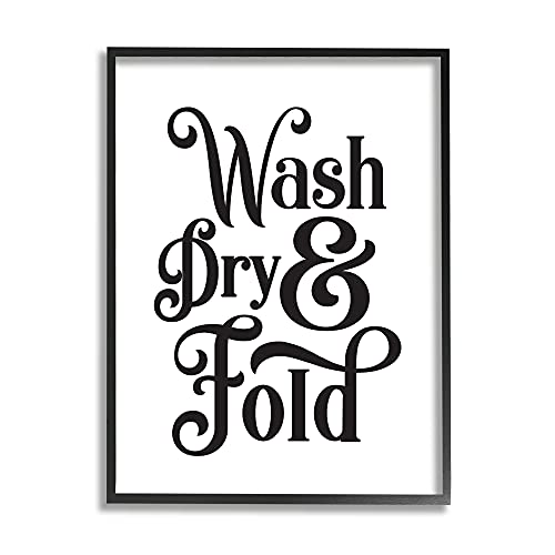 0049182366627 - STUPELL INDUSTRIES LAUNDRY WASH DRY & FOLD PHRASE MINIMAL, DESIGNED BY LETTERED AND LINED BLACK FRAMED WALL ART, WHITE