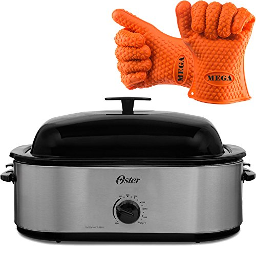 4933323109333 - OSTER 18 QUART HIGH DOME LID PORTABLE BAKING COOKING 24 POUND TURKEY ROASTER OVEN WITH HEAT RESISTANT SILICONE GLOVES