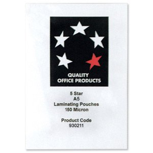 5018206327215 - 5 STAR LAMINATING POUCHES 150 MICRON FOR A5 GLOSSY REF 5025