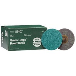 0051131014077 - 3M DISK 36YF ROLOC GREENCORP 25 DISCS/ BOX (405-051131-01407) CATEGORY: COATED DISC ABRASIVES
