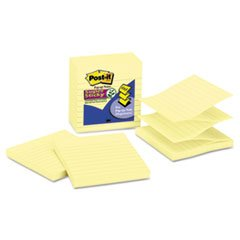 0051131949201 - SUPER STICKY POP-UP NOTES, LINED, 4X4, 90 SHEETS, YELLOW, 5-PACK