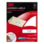 0051141255989 - 3M PERMANENT ADHESIVE ADDRESS LABELS, 1 X 4 INCHES, WHITE, 2000 PER PACK (3100-D)
