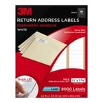 0051141256085 - 3M 3100-R PERMANENT ADHESIVE WHITE MAILING LABEL F/LASER PRINTERS, 1/2