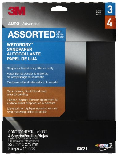 0051144030217 - 3M 03021 WETORDRY 9 X 11 SANDPAPER SHEET WITH ASSORTED GRIT SIZES