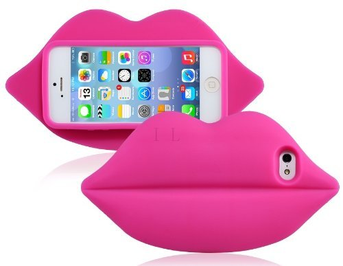 0520627743949 - SKY BUDDY 3D LIPS DESIGN SILICONE PROTECTIVE CASE FOR IPHONE 5S/5 (PINK)