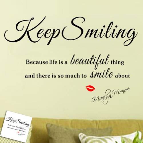 0522396310186 - MZY LLC (TM) MARILYN MONROE  KEEP SMILING BECAUSE LIFE IS A BEAUTIFUL THING AND THERE IS SO MUCH TO SMILE ABOUT  CLASSIC MONROE LIPS QUOTE AND SAYING DIY REMOVABLE WALL DECAL VINYL WALL STICKER ART HOME DECORATION