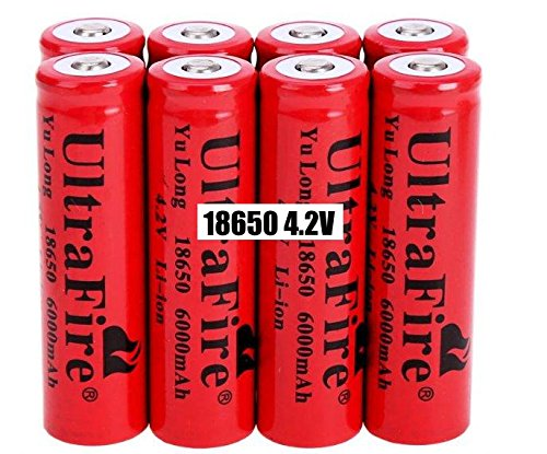 5286126436984 - 8 PCS 18650 6000MAH 4.2V LI-ION RED RECHARGEABLE BATTERY FOR LED TORCH - RECHARGE UP TO 1000 CYCLES! USA STOCK + BONUS