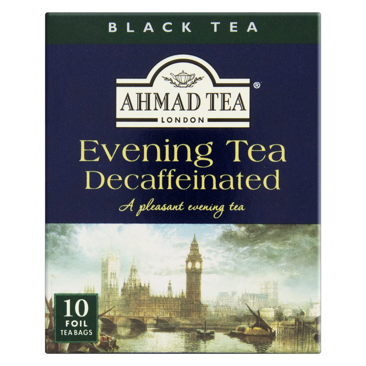 0054881013543 - CHÁ PRETO EVENING TEA DECAFFEINATED AHMAD TEA LONDON CAIXA 20G 10 UNIDADES