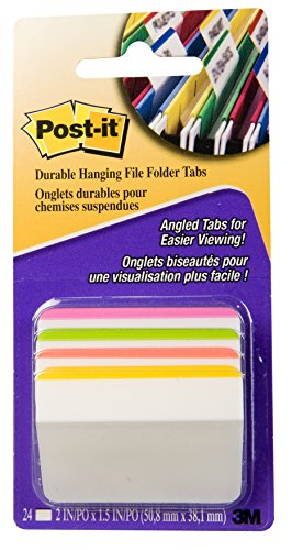 5775005810613 - POST-IT TABS, 2-INCH ANGLED LINED, ASSORTED BRIGHT COLORS, 6-TABS/COLOR, 4 COLORS, 24-TABS/PACK