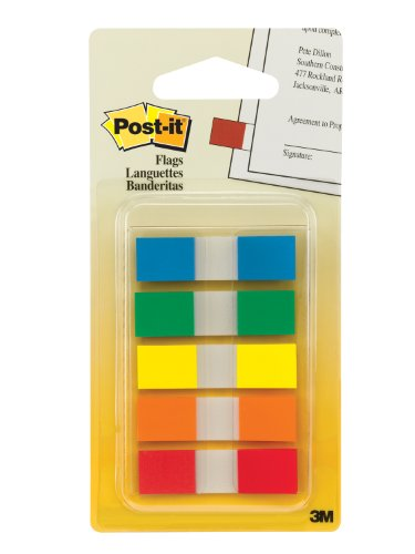 5775005810620 - POST-IT FLAGS WITH ON-THE-GO DISPENSER, ASSORTED PRIMARY COLORS, 1/2-INCH WIDE, 100/DISPENSER, 1-DISPENSER/PACK