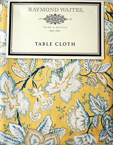 RAYMOND WAITES FABRIC TABLECLOTH BLUE YELLOW WHITE FLORAL PATTERN ON A  YELLOW BACKGROUND    70 INCHES ROUND
