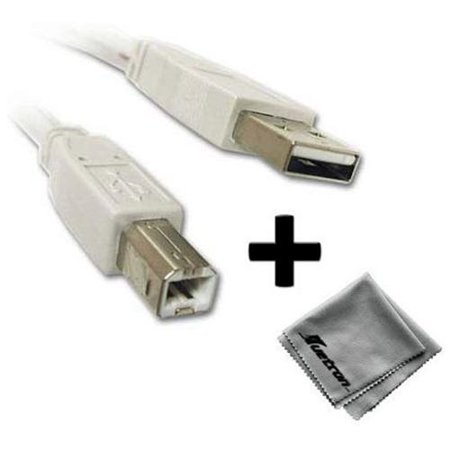 0600599728059 - CANON PIXMA MP470 PRINTER COMPATIBLE 10FT WHITE USB CABLE A TO B PLUS FREE HUETRON MICROFIBER CLEANING CLOTH