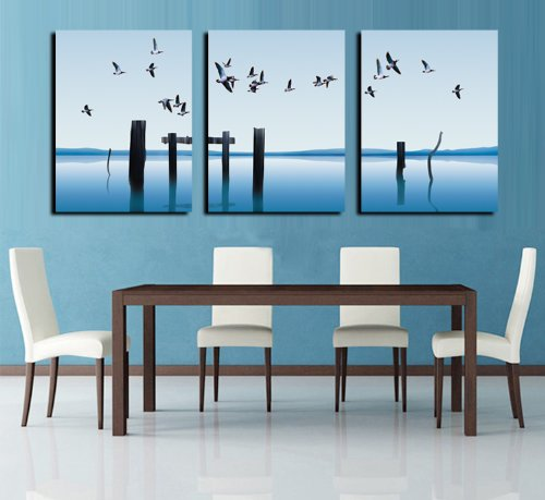 0602123050599 - BLUE OCEAN WITH FLYING SEABIRDS WALL ART WALL DECORATIVE CANVAS PRINT SET OF 3 (NO FRAME)