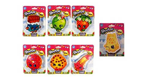 0603526549574 - SHOPKINS COLLECTIBLE ERASER BUNDLE SET - 7 ITMES : LIPPY LIPS, KOOKY COOKIE, STRAWBERRY KISS, CHEE ZEE, CHEEKY CHOCOLATE, APPLE BLOSSOM AND D'LISH DONUT
