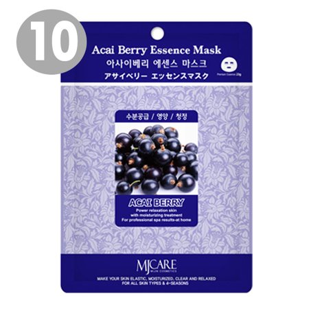 0604248031996 - THE ELIXIR BEAUTY ACAI BERRY COLLAGEN PREMIUM ESSENCE KOREAN COSMETIC MASK PACK SHEET (23G, 10 PACKS)