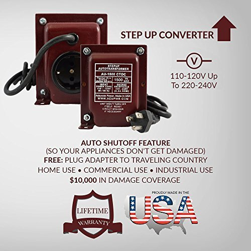 0608729567530 - ACUPWR US MADE AU-1500 -AUTO STEP UP TRANSFORMER CONVERTER - FOR 110V COUNTRIES-1500 WATT