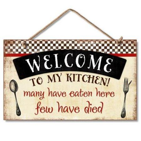0608814411915 - WELCOME TO MY KITCHEN DECORATIVE WOOD WALL PLAQUE WITH BRAIDED ROPE FOR HANGING