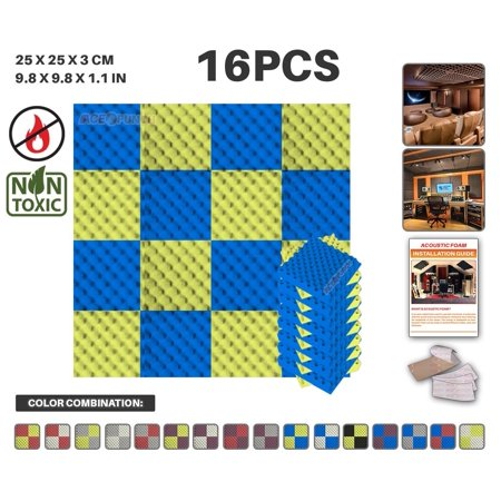 0609311291055 - ACEPUNCH BLUE AND YELLOW 9.8 X 9.8 X 1.1 CONVOLUTED EGG CRATE ACOUSTIC FOAM STUDIO SOUND-ABSORBING TILE PANEL 16 PCS