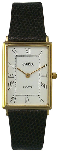 0609613488115 - CONDOR 14KT SOLID GOLD MENS SWISS STRAP WATCH WHITE DIAL 14K QUARTZ GS127-20
