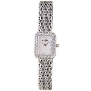 0609728955458 - CONDOR 14KT SOLID WHITE GOLD & DIAMOND WOMENS LUXURY SWISS WATCH MOP DIAL 14K